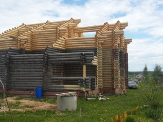Строительство бревенчатого рубленого дома 16х13